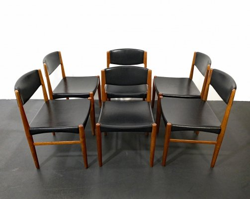 Set of 6 Mid Century Teak & Faux Leather Dining Chairs by Glostrup, Denmark 1960s