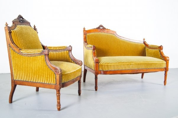 Velvet & Carved Oak Lounge set, Early 20th century