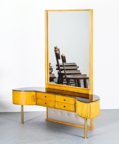 Birch Dressing Table With Large Mirror