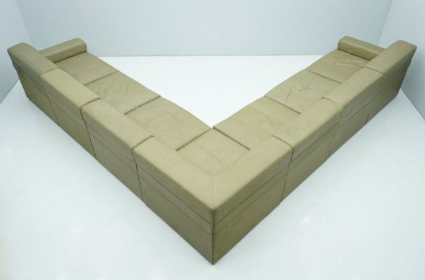 Large Modular Sectional Sofa in Elephant Grey Leather by Walter Knoll, 1970s