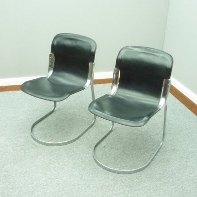 Pair of Italian Chairs by Willy Rizzo for Cidue, 1970s