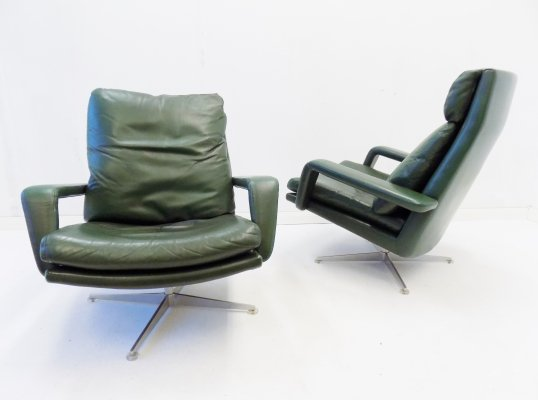 Kaufeld set of 2 green leather armchairs, 1960s