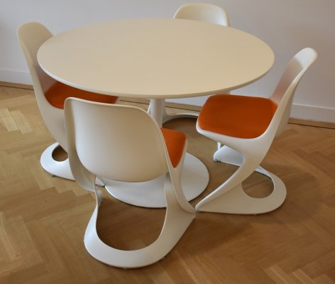 Alexander Begge for Casala Dining table with 4 chairs, 1970s