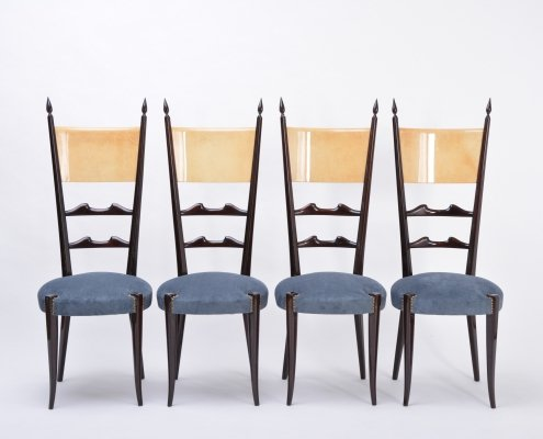 Set of 4 Aldo Tura high back dining chairs, 1970s