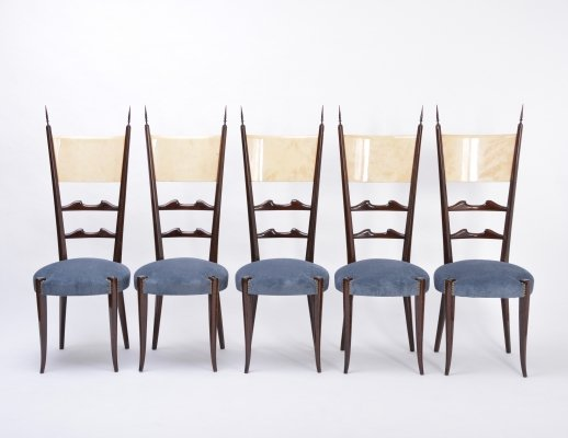 Set of 5 Aldo Tura high back dining chairs, 1970s