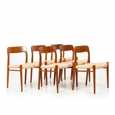 Set of 6 Danish No. 75 Dining Chairs by Niels Otto Møller, 1960s