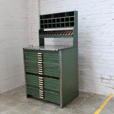 Antique printing press cabinet, 1920s