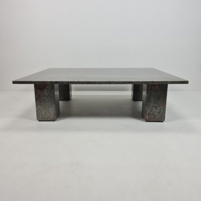 Italian green & brown marble coffee table with 4 loose column legs, 1980s