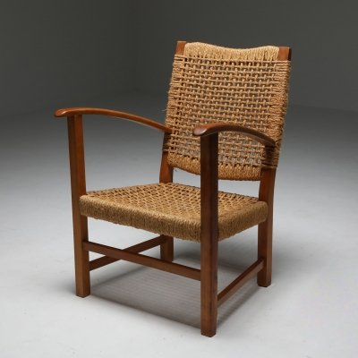 Audoux & Minet Armchair in Beech & Cord, 1960's