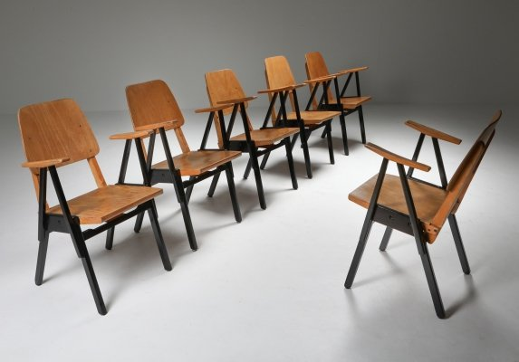 Set of 6 'Palais De Tokyo' Armchairs by Ermeloo Zwager, 1950's