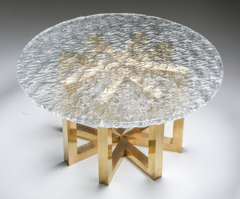 Brass & Cast Glass Round Dining Table by Ettore Gino Poli for Poliarte, 1970s