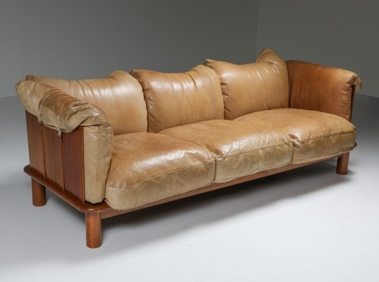 Camel Leather & Walnut Sofa from De Pas, D'Urbino Lomazzi for Padova, 1970s