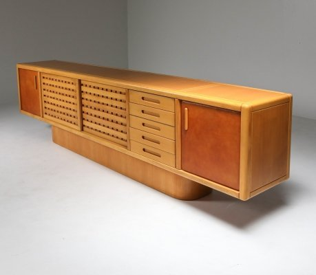 Beech & Leather Sideboard by Mario Marenco, Italy 1970's