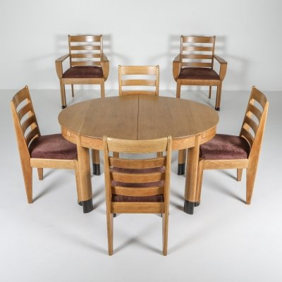 Rationalist Oval Dining set in Oak, Holland 1920's