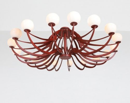 Red Lacquered Postmodern Chandelier, 1960's