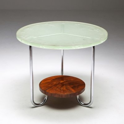 Art Deco Occasional Table with Thick Etched Glass Top, 1930's