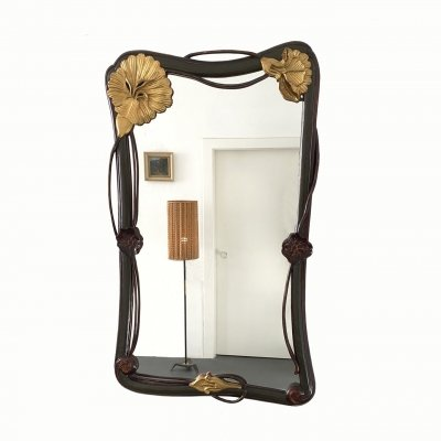 French Art Nouveau Style Wall Mirror with Carved Lily Pads & Flowers, France 1930s