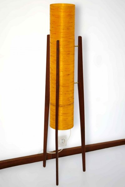 Orange Novoplast lamp with wooden tripod base, 1960s