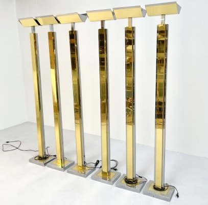Chrome & brass floor lamp by Lumina, 1980s