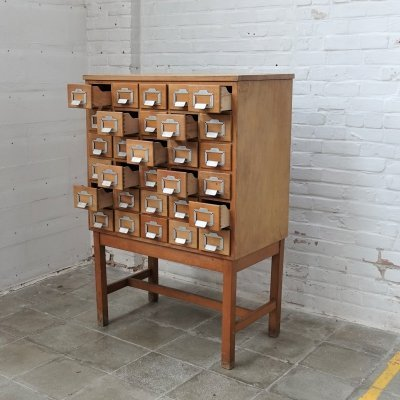 Vintage library drawer cabinet, 1950s