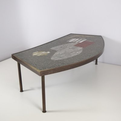 Mosaic & Brass Coffee Table by Berthold Müller-Oerlinghausen, Germany 1950