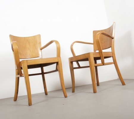 Pair of Dutch Beech Plywood Chairs, 1950s