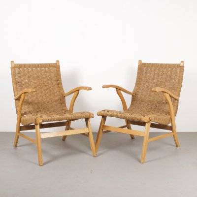 Beech & Rope Armchairs, Holland 1960s
