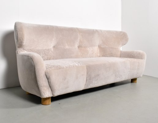 1930s Sheepskin 3-seater sofa made in France