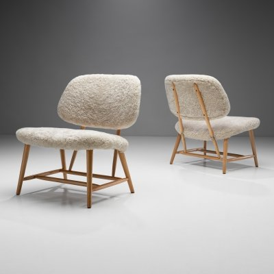 Pair of 'TeVe' Chairs by Alf Svensson for Studio Ljungs Industrier AB, Sweden 1950s