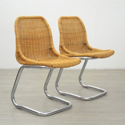Pair of Dutch Rattan Chairs, 1970s