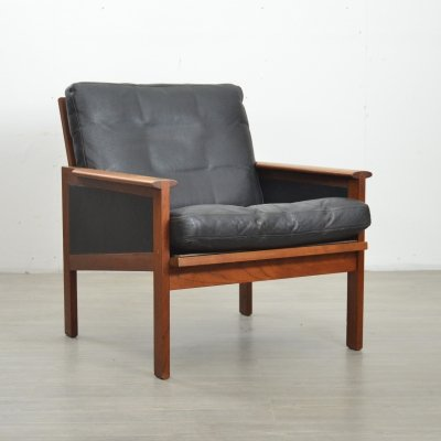 Danish Teak & Leather Lounge Chair by Illum Wikkelsø, 1950s