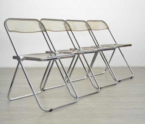 Set of 4 Plia Folding Chairs by Giancarlo Piretti, 1970s