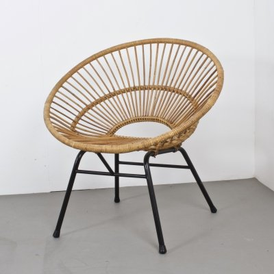 Small Rattan Lounge Chair, NL 1960s