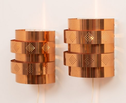 Vintage copper colored sconces by Werner Schou for Coronell Elektro Denmark