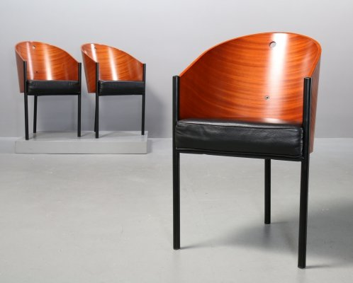 Mahagony & Black Leather Costes Chairs by Philippe Starck by Driade, 1980s