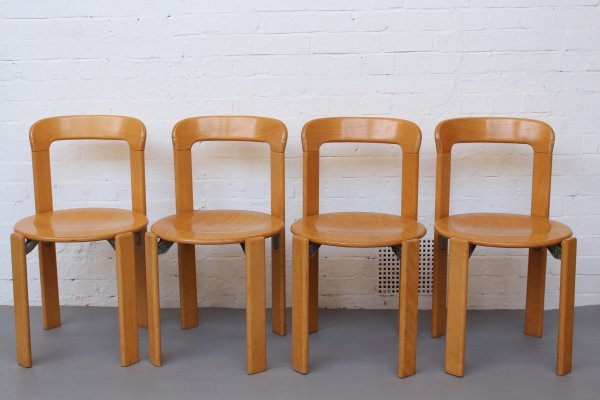 Set of 4 Stackable Dining Chairs by Bruno Rey for Kusch & Co, 1970s