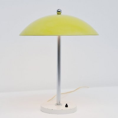 W.H. Gispen yellow mushroom table lamp by Gispen, 1950