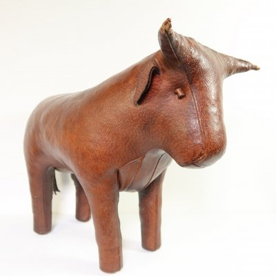Leather bull footstool by Dimitri Omersa, 1960s