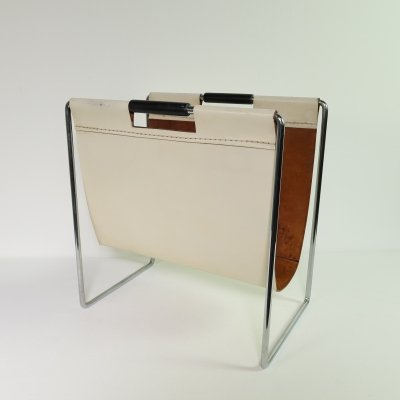 White thick leather magazine rack by Brabantia, 1960s