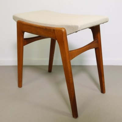 Wooden stool with skai seating, 1950s