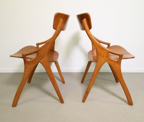 Pair of Oak dining chairs with teak seating