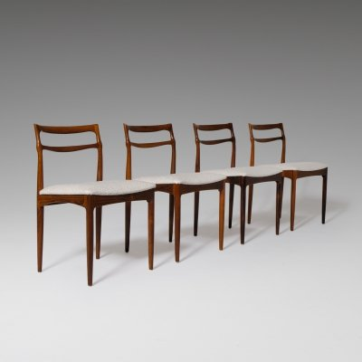 Set of 4 Johannes Andersen Rosewood dining chairs, 1960s
