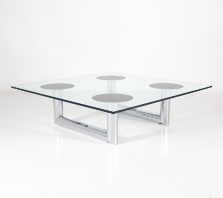 Large tubular chromed steel & glass coffee table, 1970s