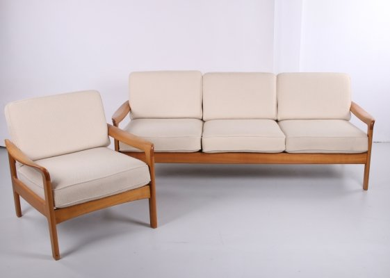 Scandinavian 3-seater sofa & armchair, 1960