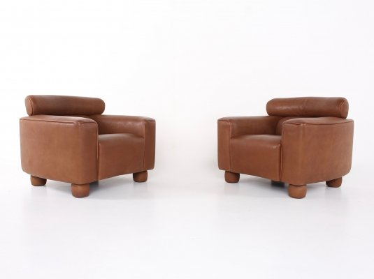 Buffalo Neck leather armchairs by De Sede, 1990s