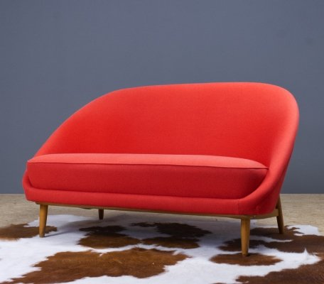 Theo Ruth Model 115 two seater sofa in red for Artifort, 1950s