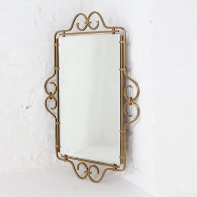 Brass framed beveled mirror, 1960's