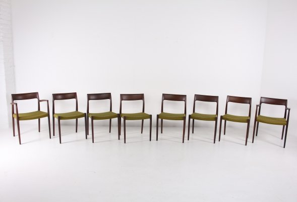 Set of 8 rosewood chairs by Niels Otto Moller for JL Mollers Mobelfabrik, 1970's