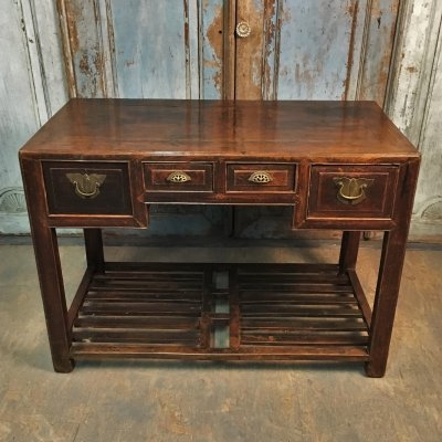 Chinese dark Elm Wooden Desk, 1960s
