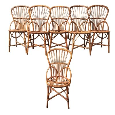 Mid-Century Rattan Dining Chairs by Adrien Audoux & Frida Minet for Audoux Minet